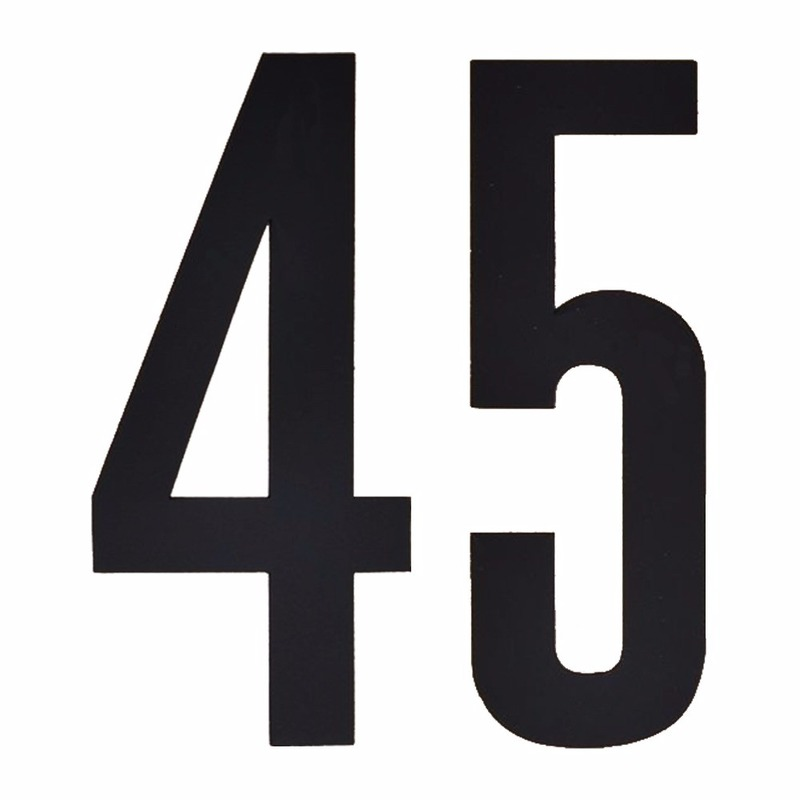 Plakcijfers 45 zwart 10 cm