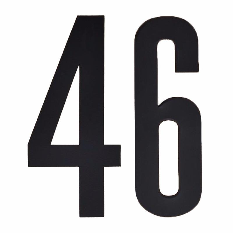 Plakcijfers 46 zwart 10 cm