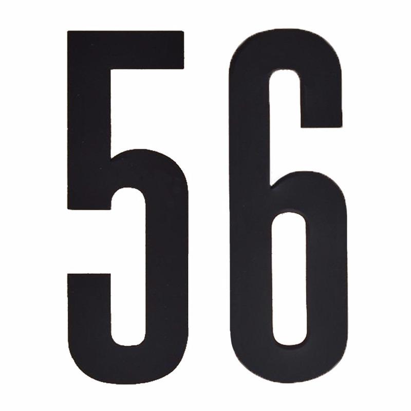 Plakcijfers 56 zwart 10 cm