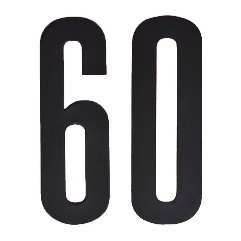 Plakcijfers 60 zwart 10 cm