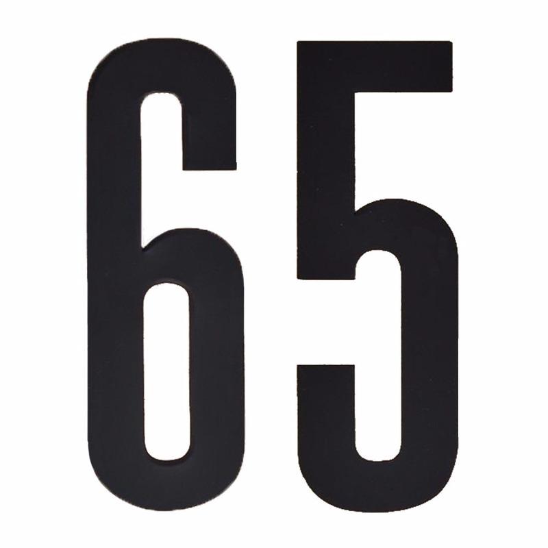 Plakcijfers 65 zwart 10 cm