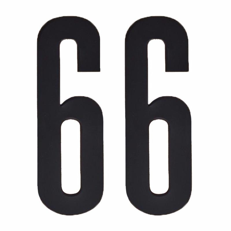 Plakcijfers 66 zwart 10 cm