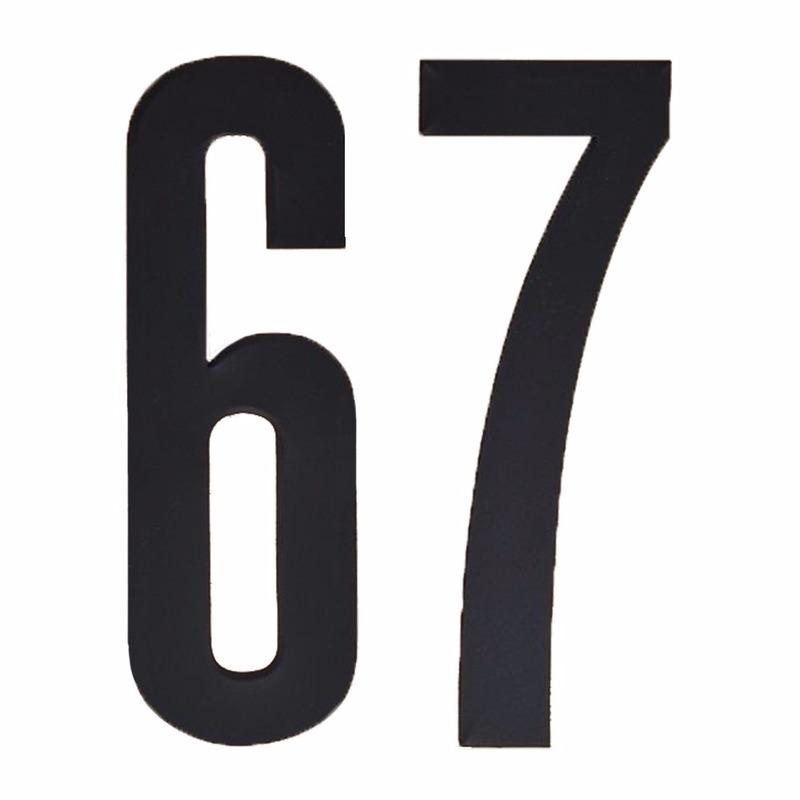 Plakcijfers 67 zwart 10 cm