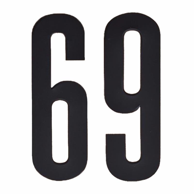 Plakcijfers 69 zwart 10 cm