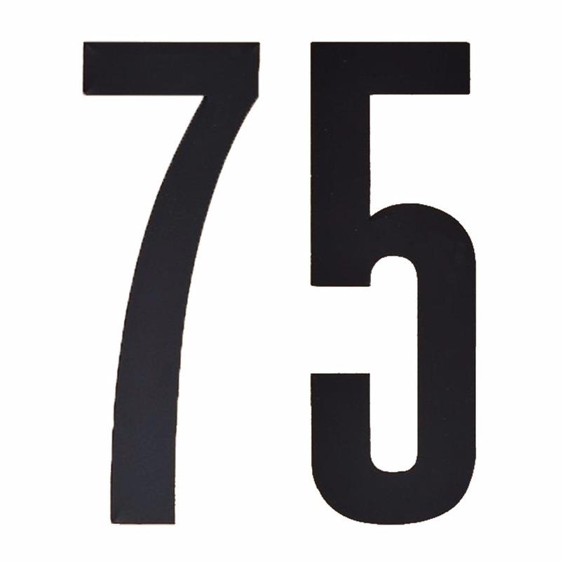 Plakcijfers 75 zwart 10 cm