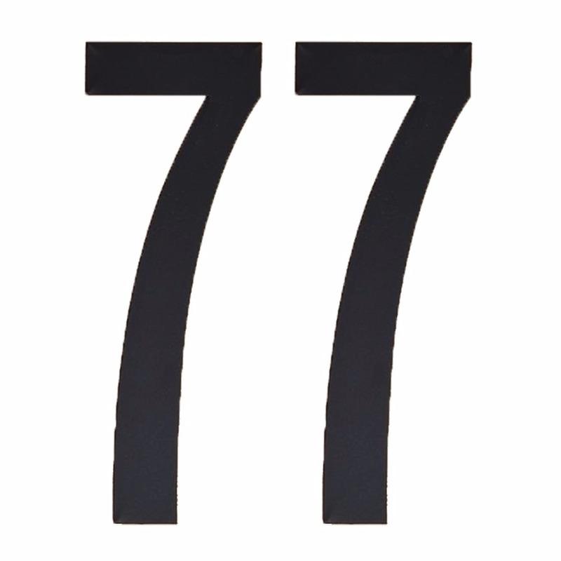 Plakcijfers 77 zwart 10 cm