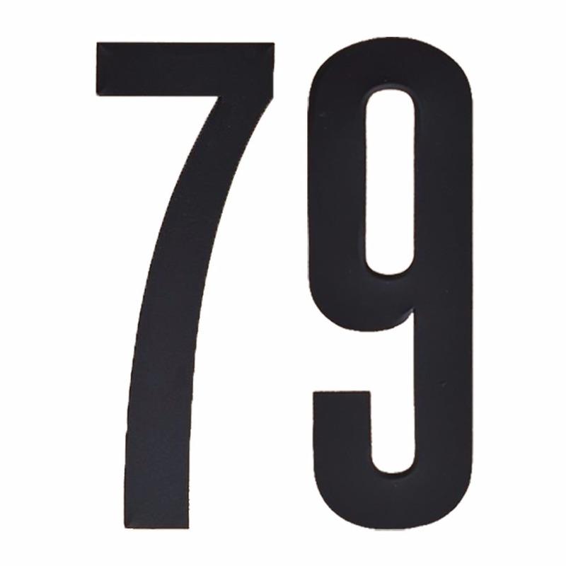 Plakcijfers 79 zwart 10 cm