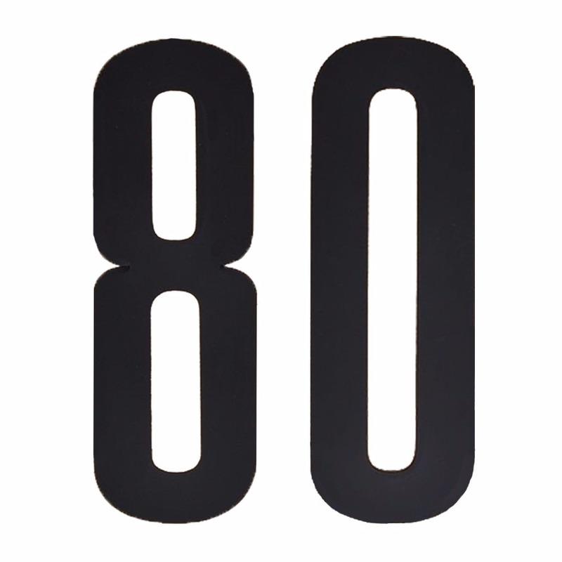 Plakcijfers 80 zwart 10 cm
