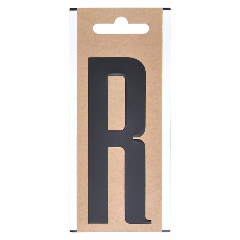 Plakletter R zwart 10 cm