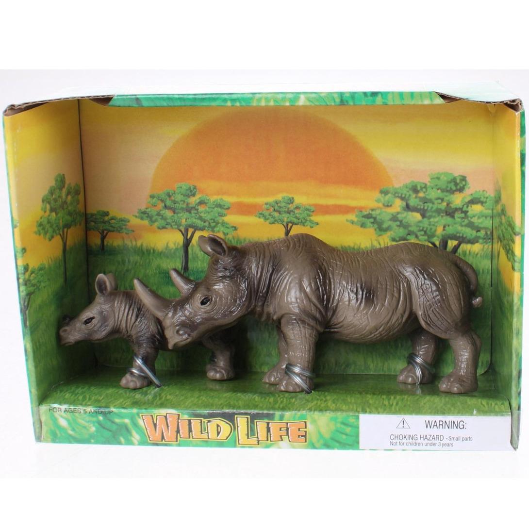 Plastic safari/wilde dieren neushoorn met kalf