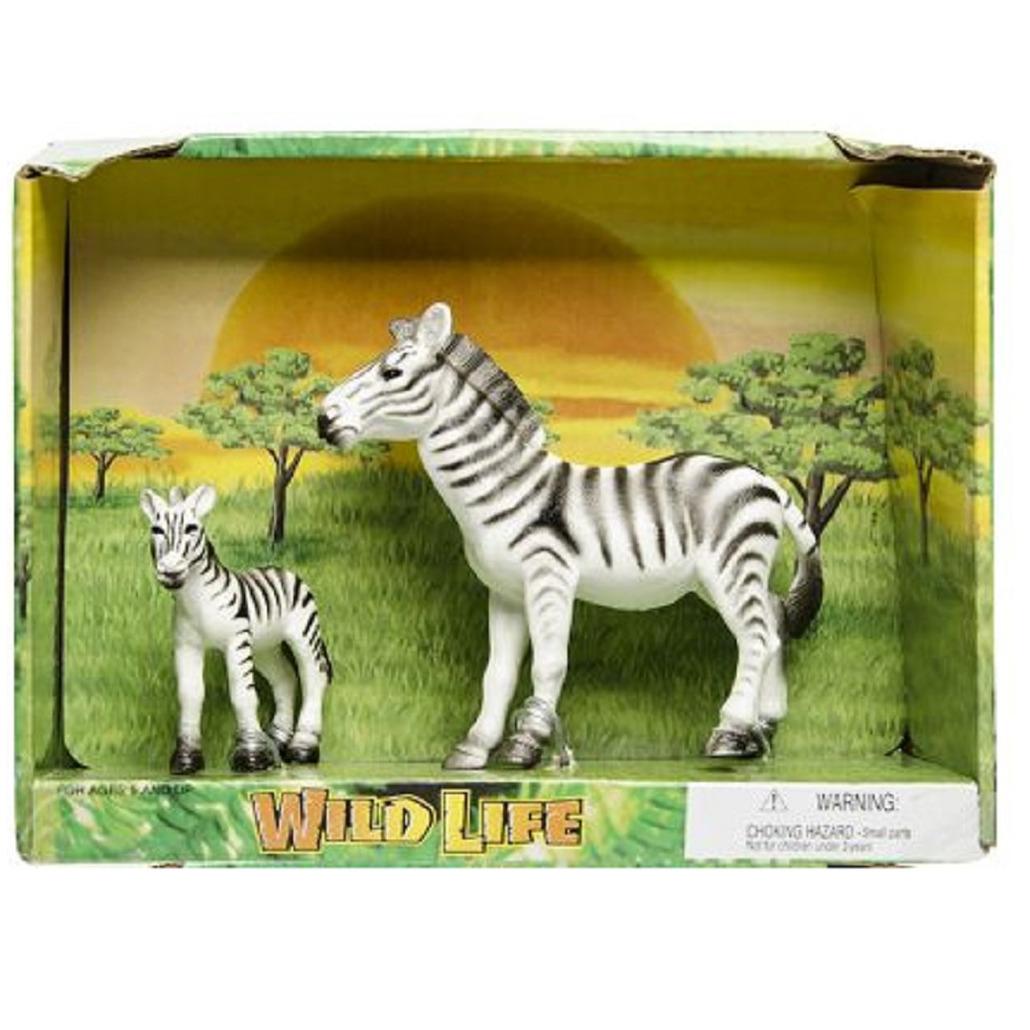 Plastic safari/wilde dieren zebra met veulen