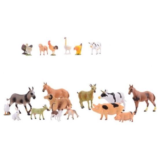 Plastic speelgoed boerderij dieren 20 stuks
