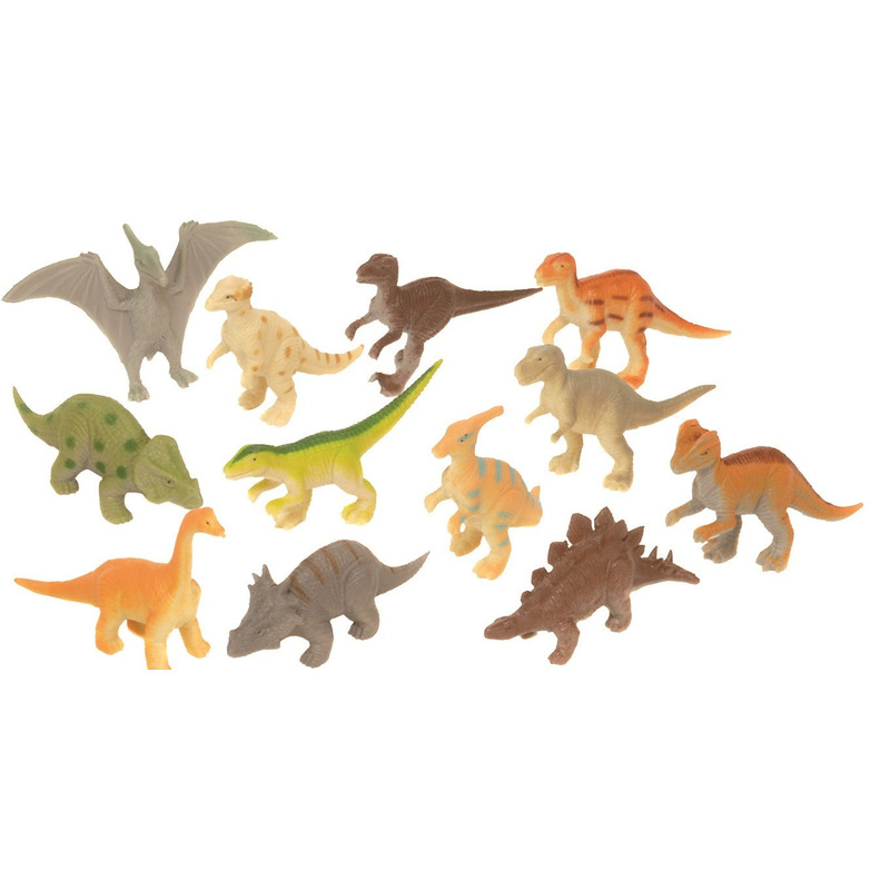 Plastic speelgoed dinosaurus dieren speelset 12-delig