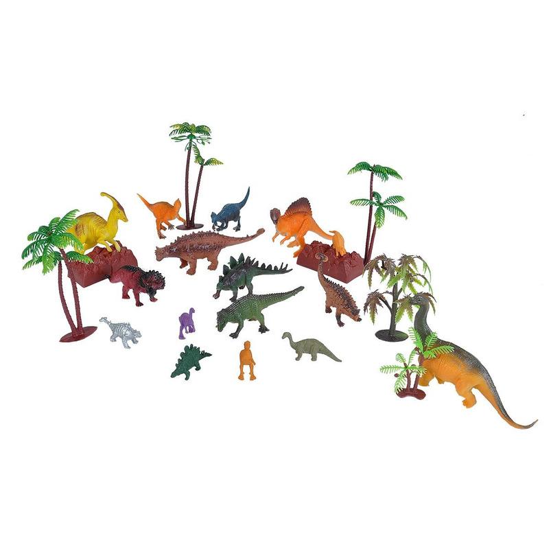 Plastic speelgoed dinosaurussen in emmer 23-delig