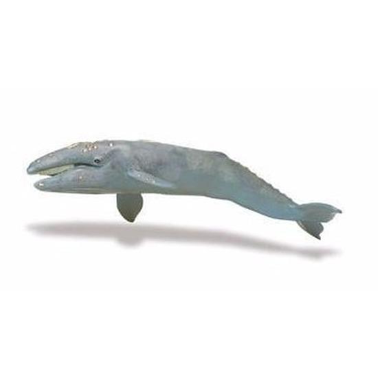 Plastic speelgoed figuur grijze walvis 34 cm