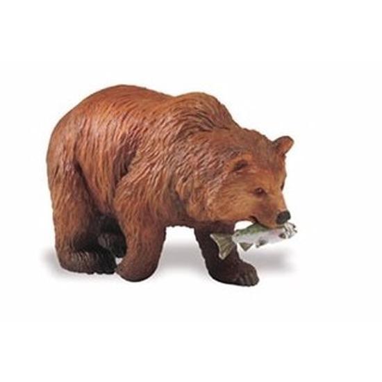 Plastic speelgoed figuur grizzlybeer 8 cm met zalm