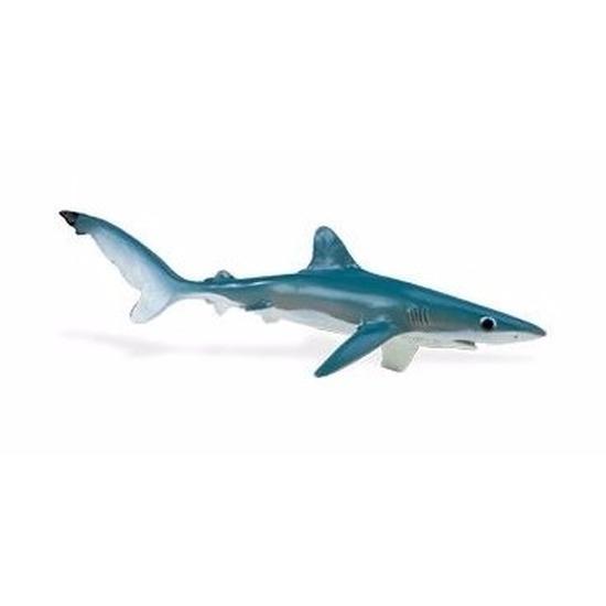 Plastic speelgoed figuur grote blauwe haai 18 cm