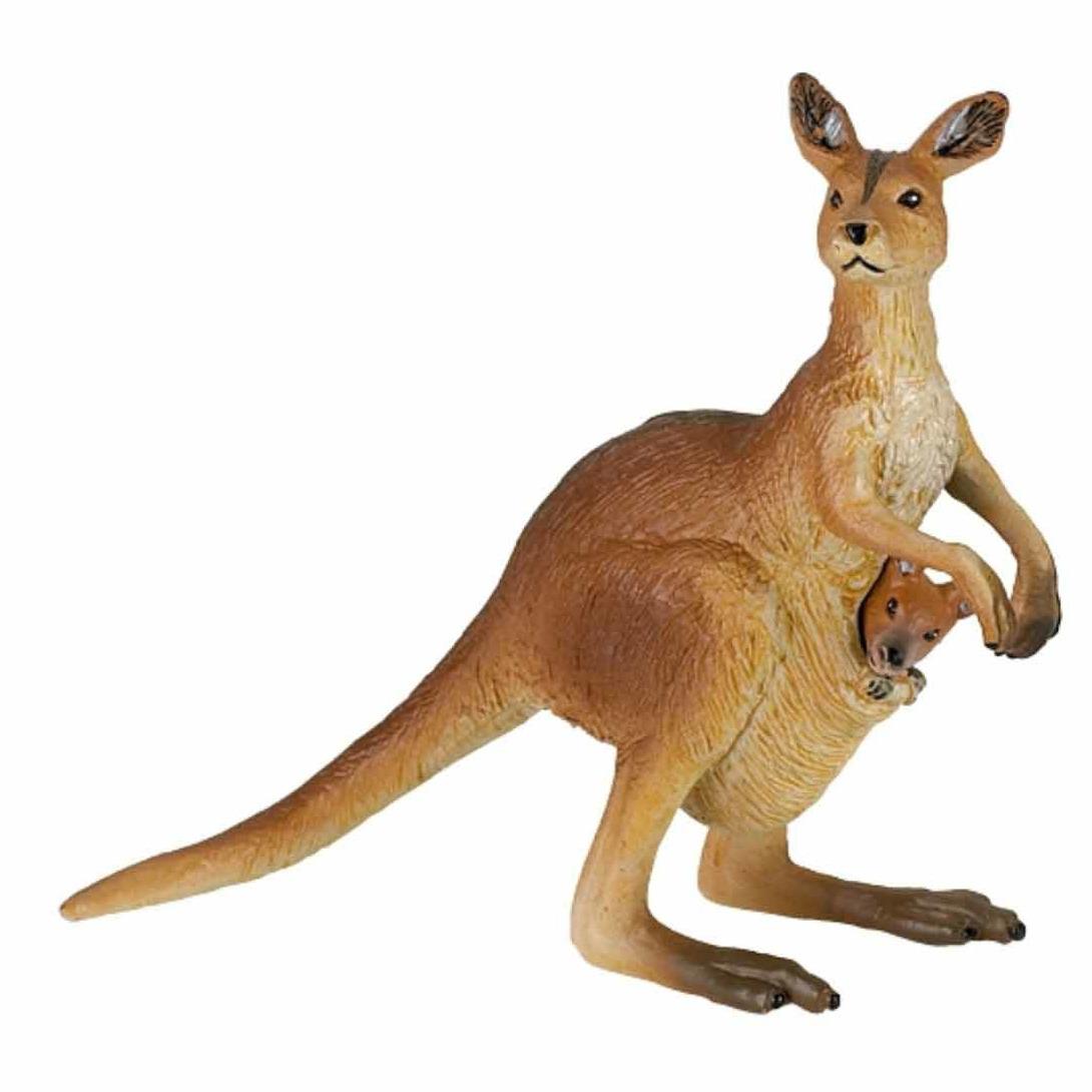 Plastic speelgoed figuur kangoeroe met baby 8 cm