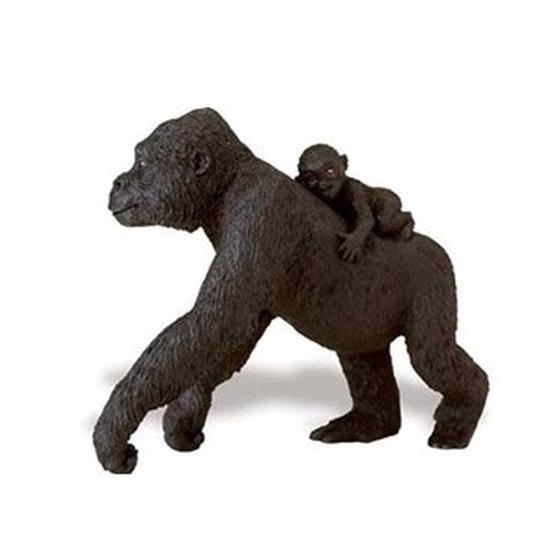 Plastic speelgoed figuur laagland gorilla met baby 11 cm