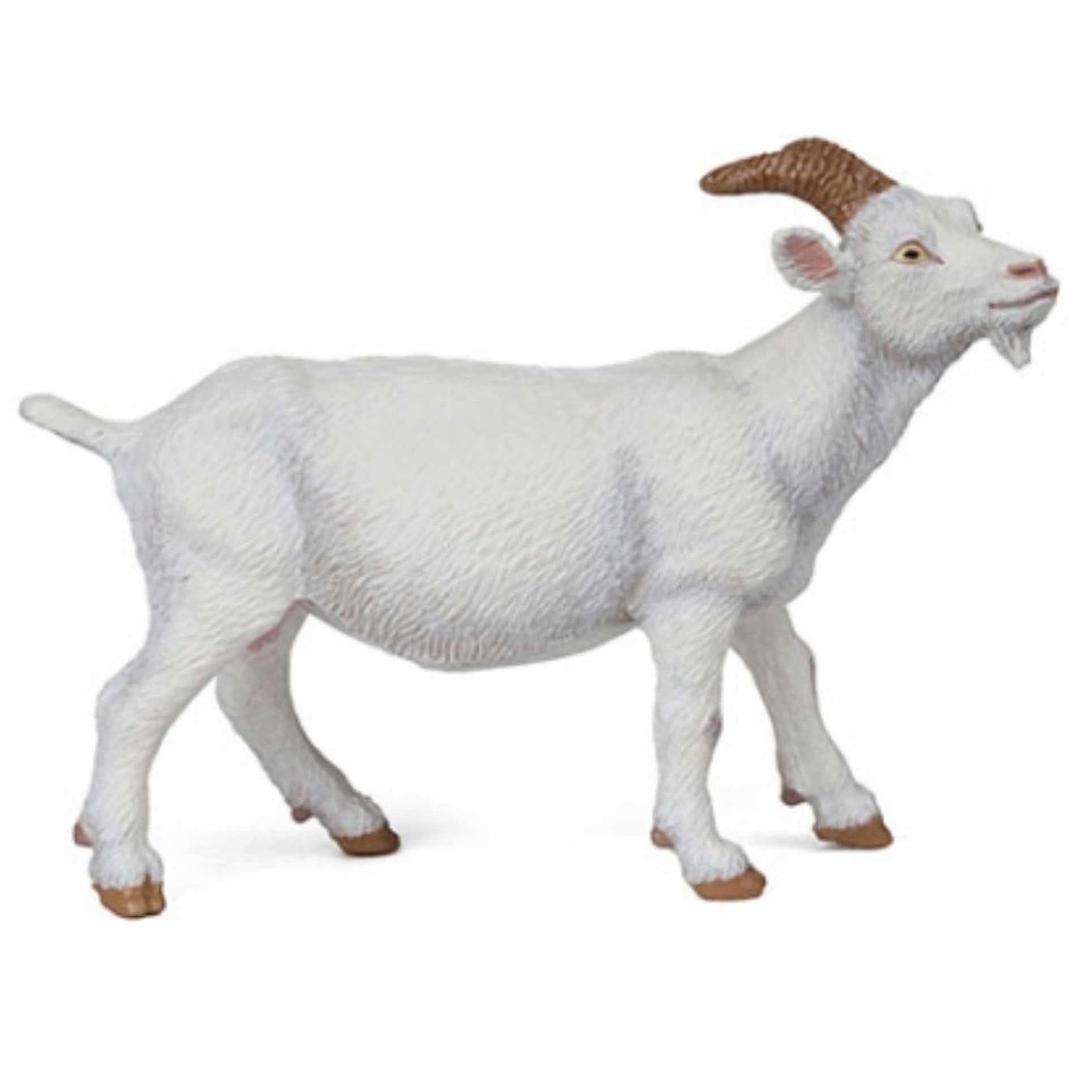 Plastic speelgoed figuur witte geit 9 cm