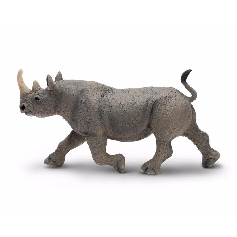 Plastic speelgoed figuur zwarte neushoorn 14 cm