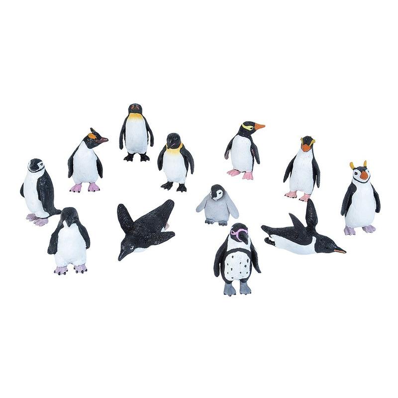 Plastic speelgoed pinguin dieren figuren speelset 10-delig