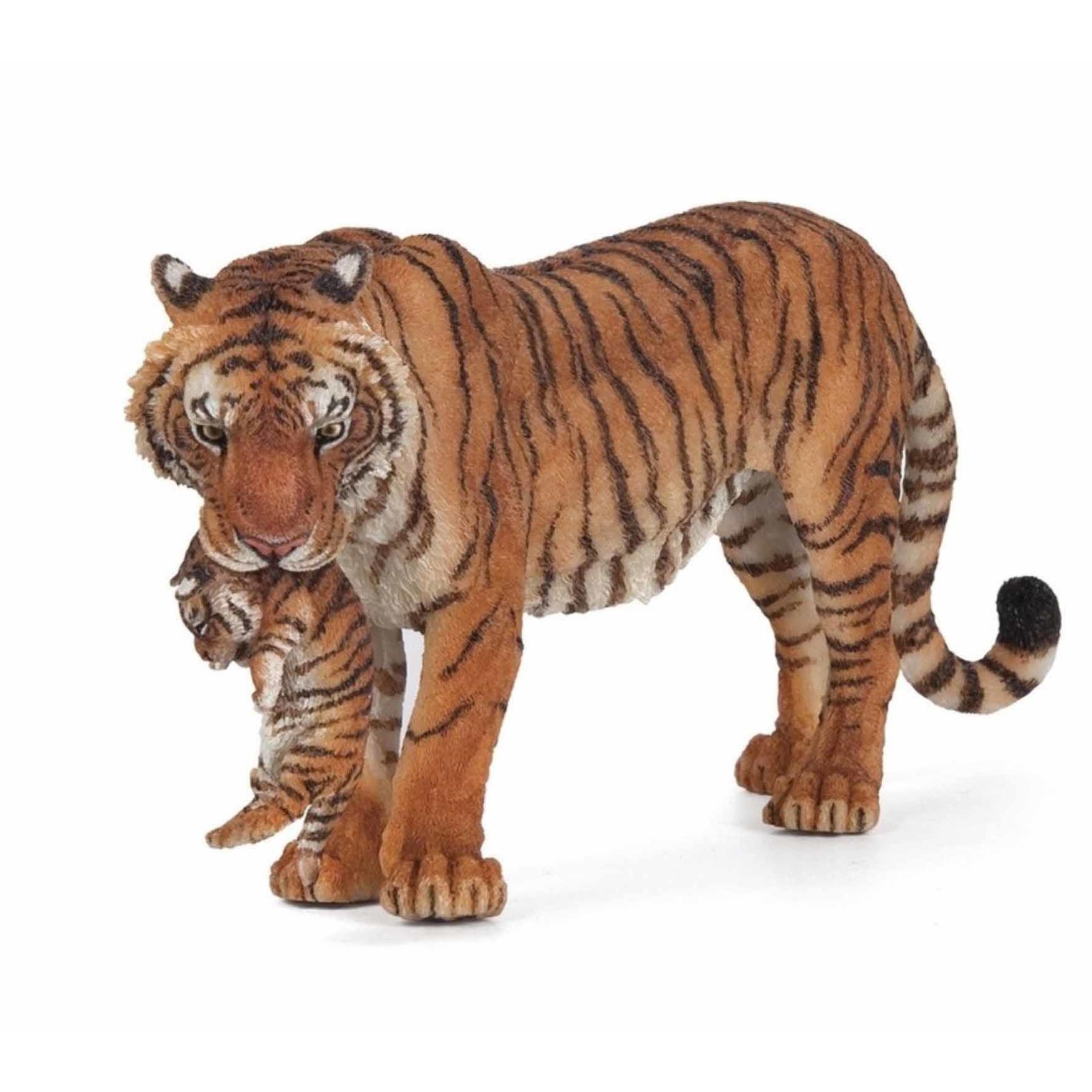 Plastic speelgoed tijgers met welpje 15 cm