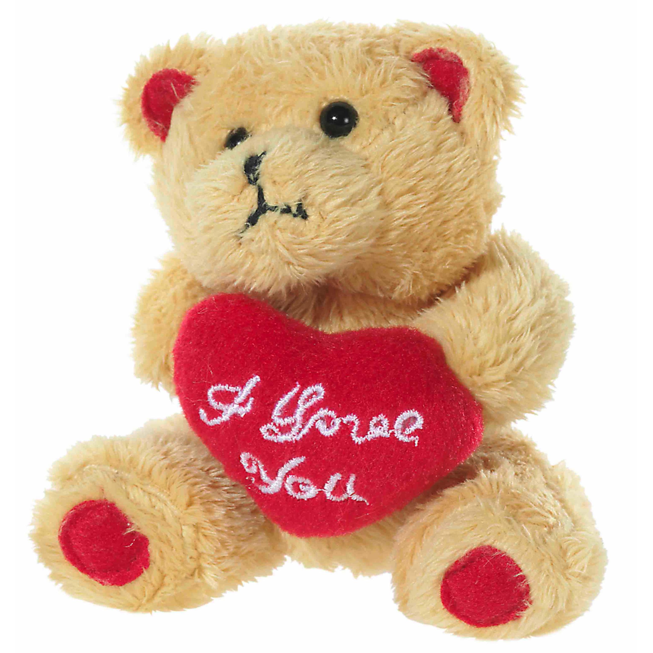 Pluche beertjes knuffel bruin van 10 cm met een I LOVE YOU hartje