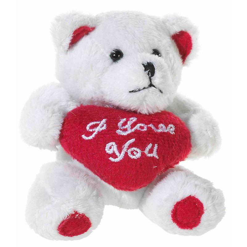 Pluche beertjes knuffel wit van 10 cm met een I LOVE YOU hartje