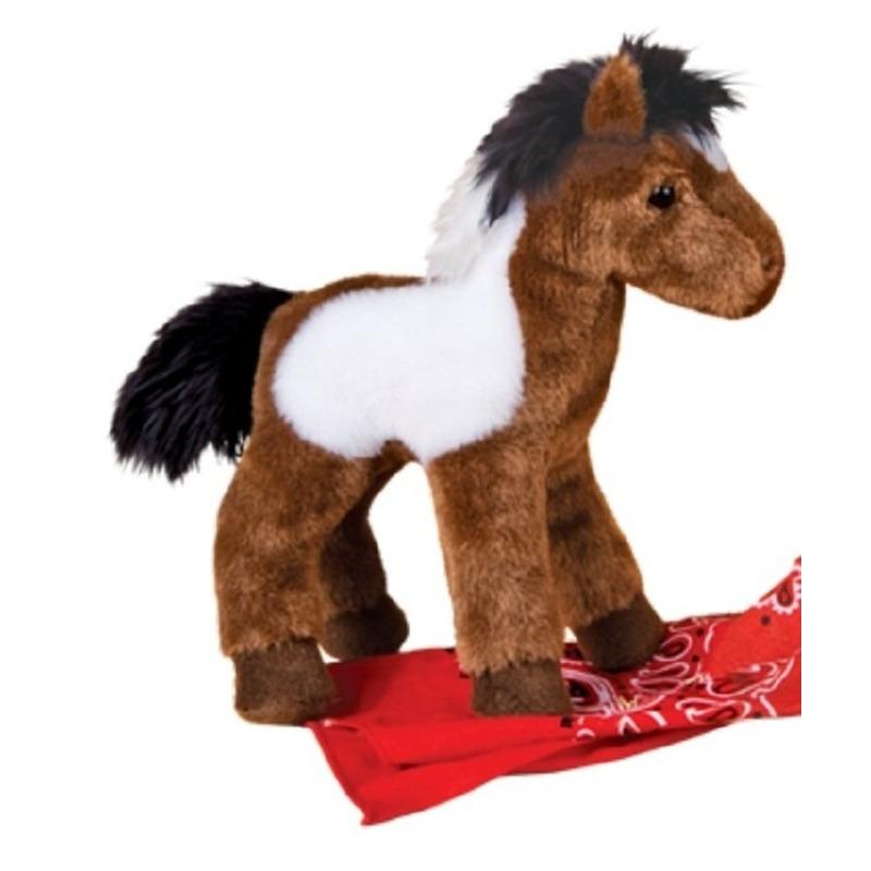 Pluche bruin/witte paarden knuffel 20 cm speelgoed