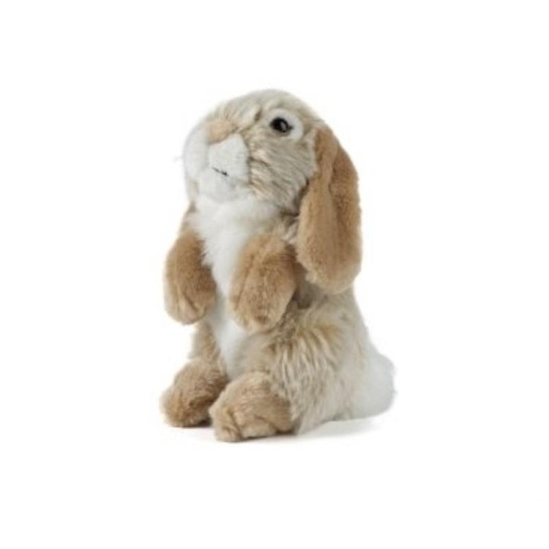 Pluche bruine hangoor konijn knuffel 19 cm speelgoed