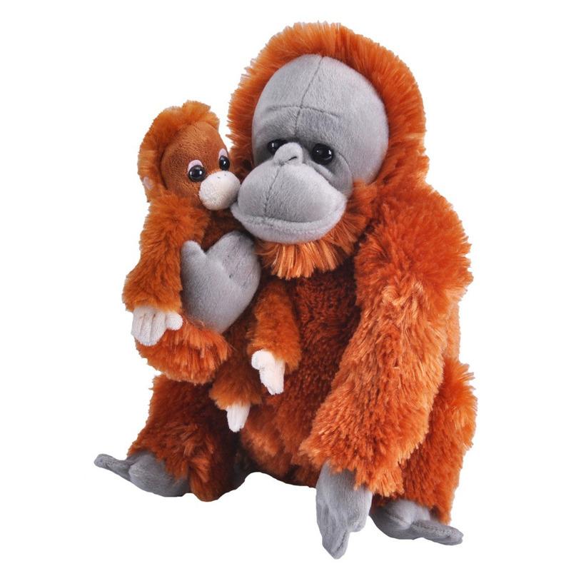 Pluche bruine Orang oetan aap met baby knuffel 38 cm speelgoed