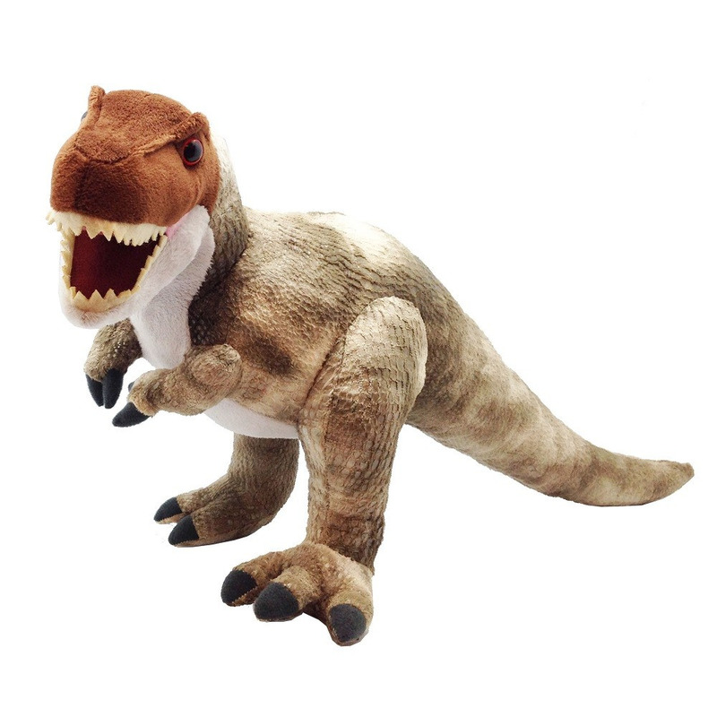 Pluche bruine T-rex dinosaurus knuffel mega 38 cm