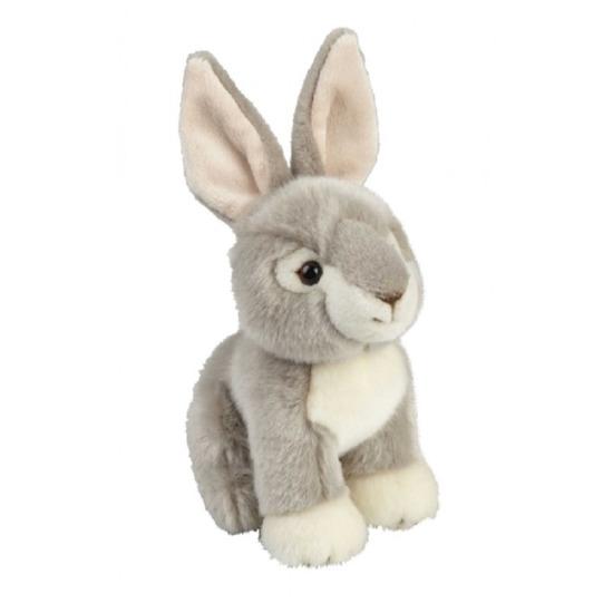 Pluche grijs konijn/haas knuffel zittend 18 cm speelgoed