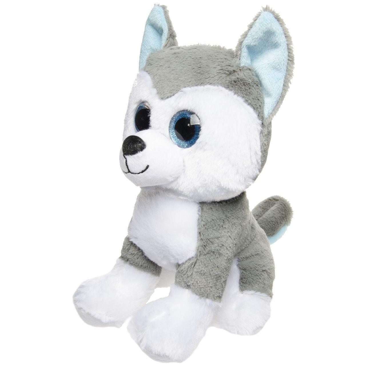 Pluche grijs/witte Husky honden knuffel 25 cm