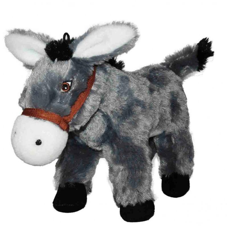 Pluche grijze ezel knuffel 34 cm speelgoed