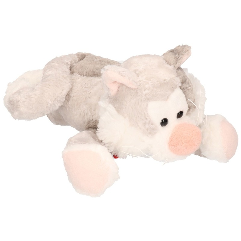 Pluche grijze kat/poes knuffel 30 cm speelgoed