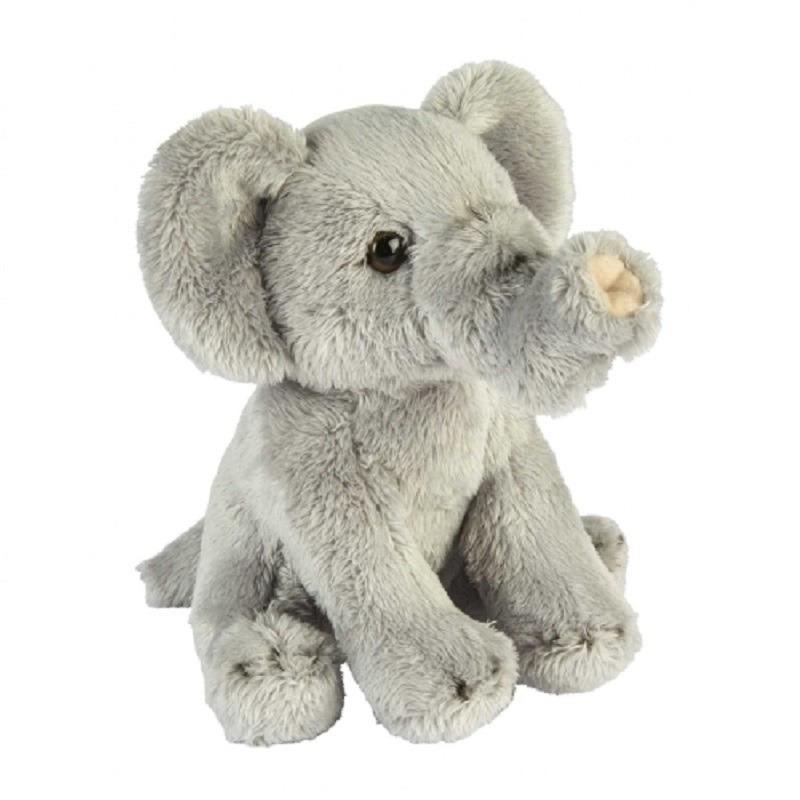 Pluche grijze olifant knuffel 15 cm speelgoed