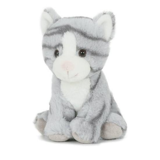 Pluche grijze poes/kat knuffel zittend 18 cm speelgoed