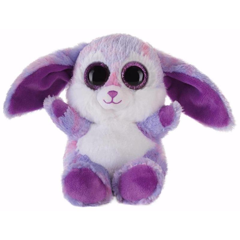 Pluche haas/konijn knuffeltje paars 15 cm