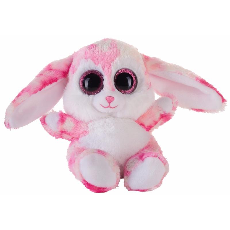 Pluche haas/konijn knuffeltje roze 15 cm