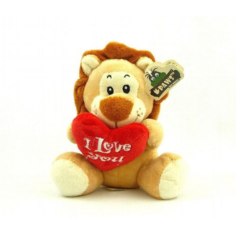 Pluche I love you leeuw knuffel bruin 14 cm speelgoed