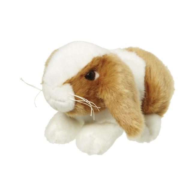 Pluche knuffel konijn bruin/wit 18 cm