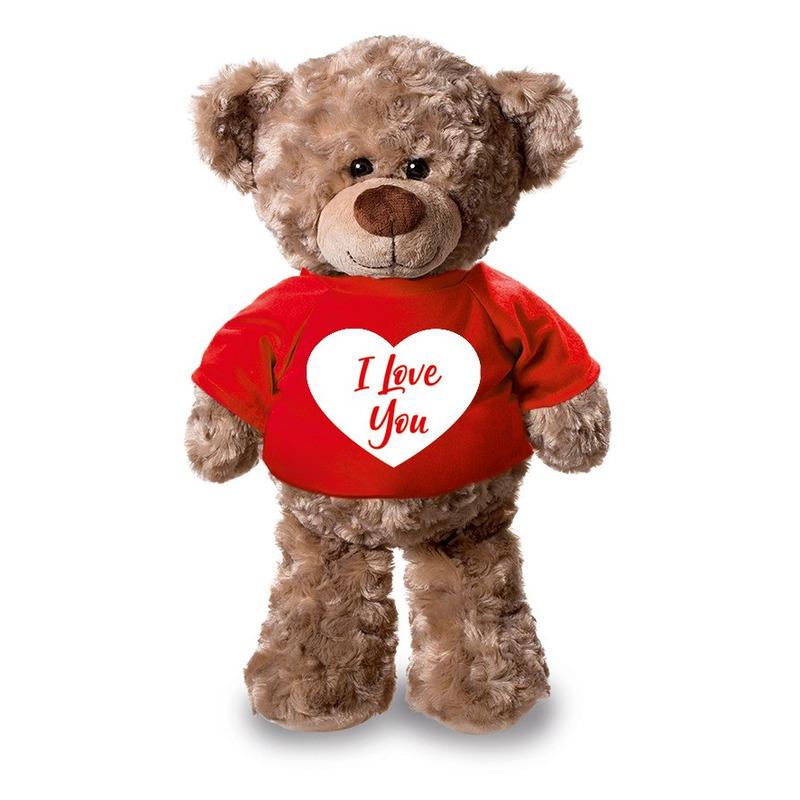 Pluche knuffel teddybeer 24 cm met I Love You hartje t-shirt