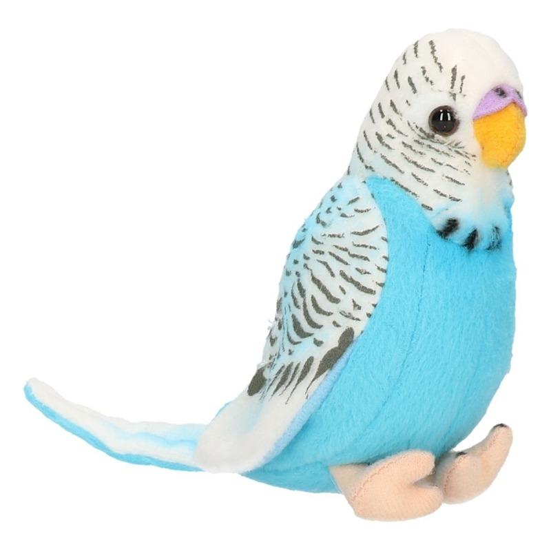 Pluche knuffel vogel Parkiet blauw 11 cm