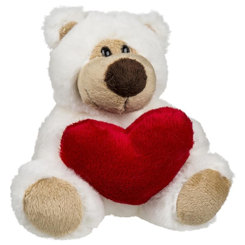 Pluche knuffelbeer met rood hartje 15 cm