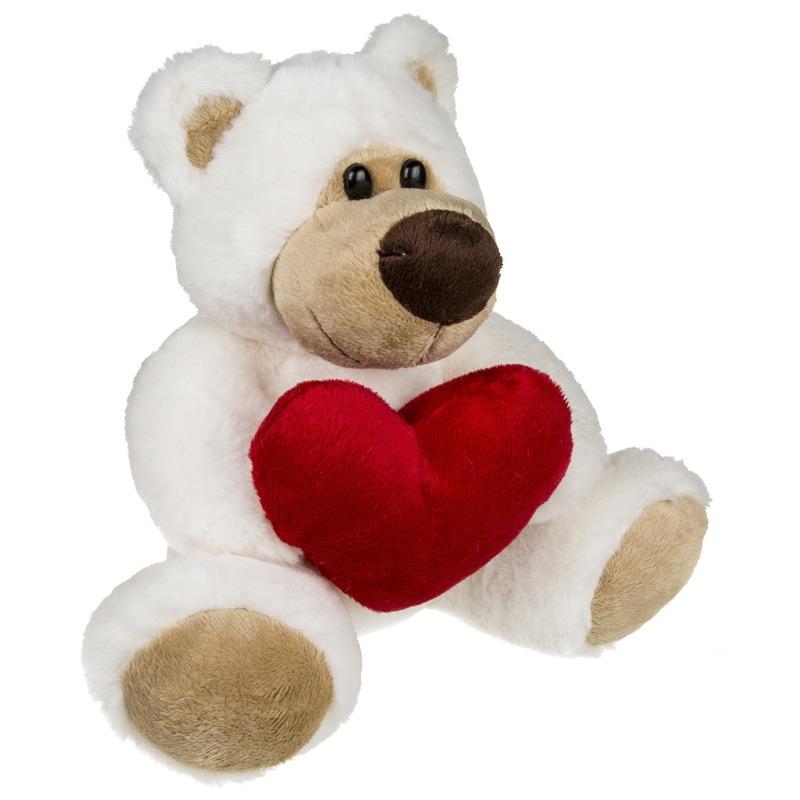 Pluche knuffelbeer met rood hartje 20 cm