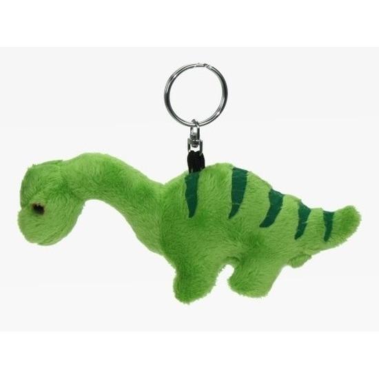 Pluche mini knuffel Brontosaurus dinosaurus sleutelhanger 16 cm