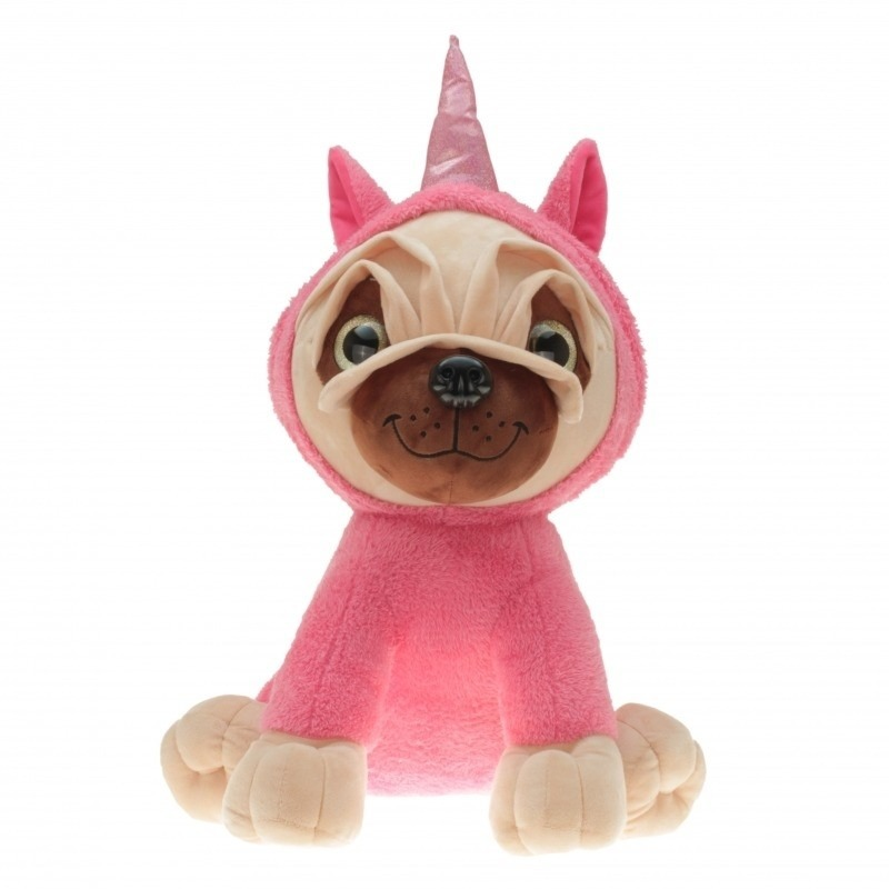 Pluche mopshond in roze eenhoorn pakje 40 cm