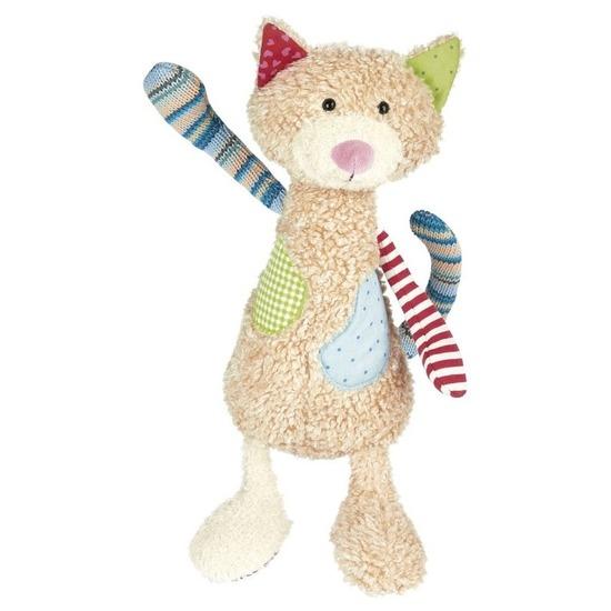 Pluche patchwork kat/poes knuffel 30 cm